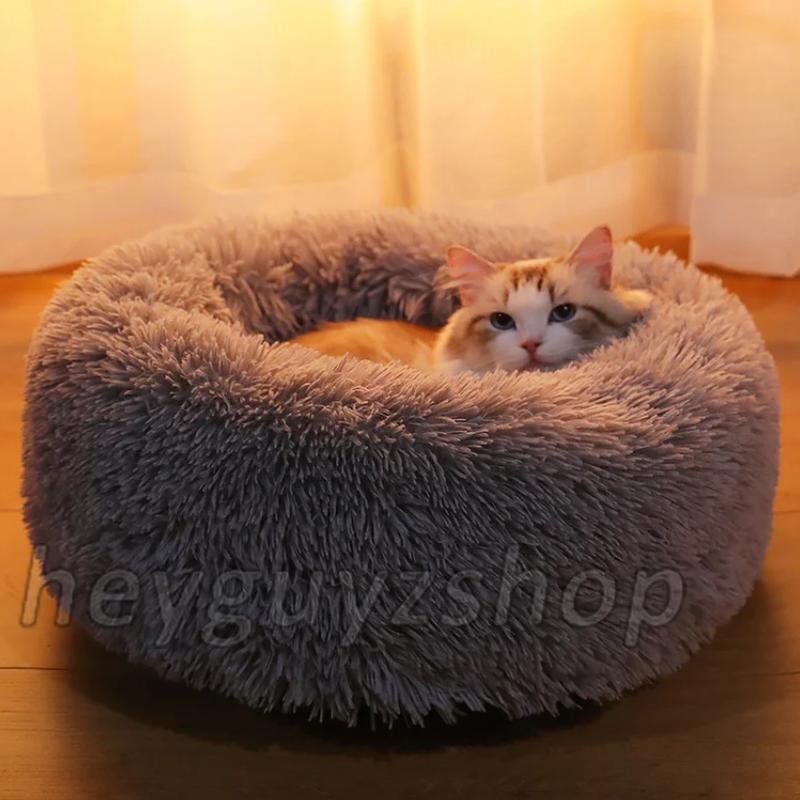 Лежак для кошки собаки круглый пушистый лежанка теплая глубокая - Фото 2