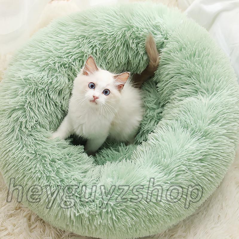 Лежак для кошки собаки круглый пушистый лежанка теплая глубокая - Фото 5