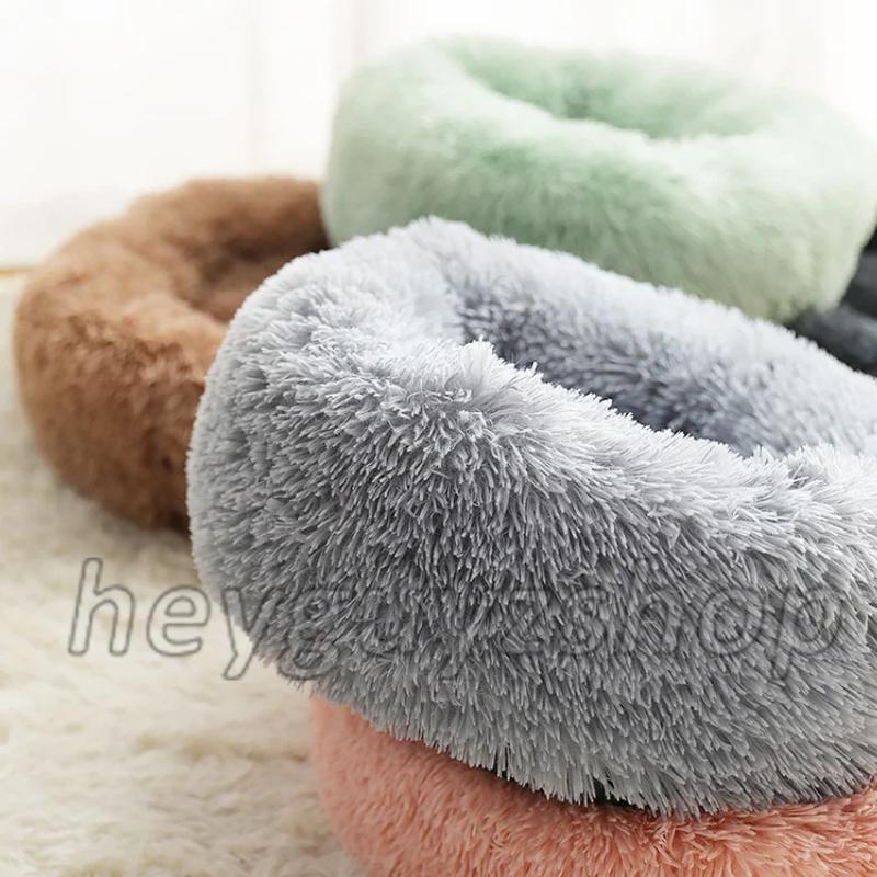 Лежак для кошки собаки круглый пушистый лежанка теплая глубокая - Фото 6