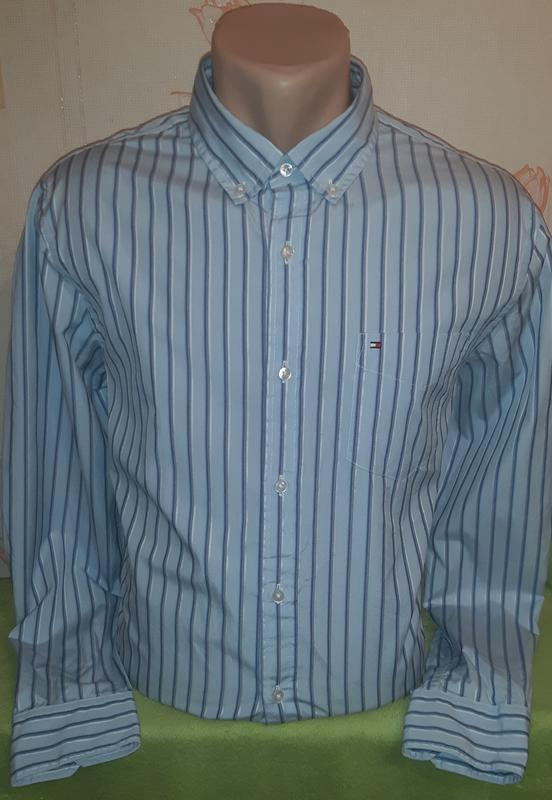 Голубая рубашка в полоску tommy hilfiger 80's 2 ply custom fit... - Фото 2
