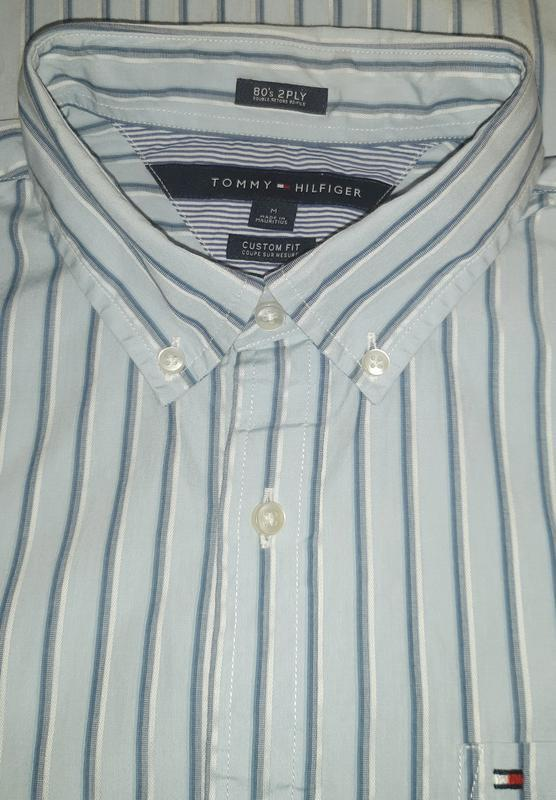 Голубая рубашка в полоску tommy hilfiger 80's 2 ply custom fit... - Фото 3