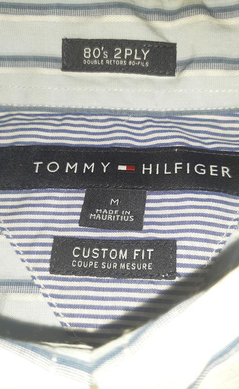 Голубая рубашка в полоску tommy hilfiger 80's 2 ply custom fit... - Фото 5