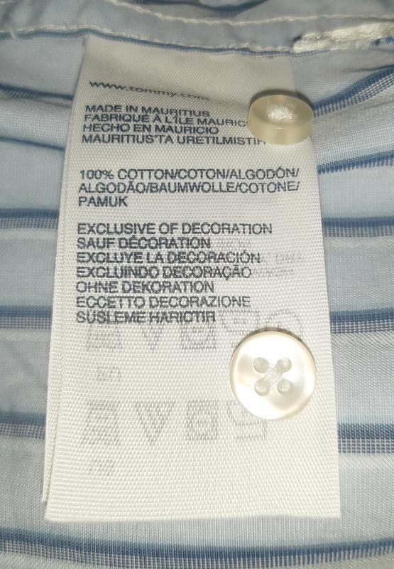 Голубая рубашка в полоску tommy hilfiger 80's 2 ply custom fit... - Фото 6