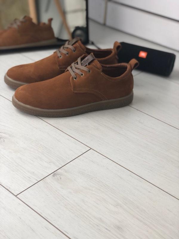 Мужские туфли рыжие на шнурках, нубук 💥 - Фото 2