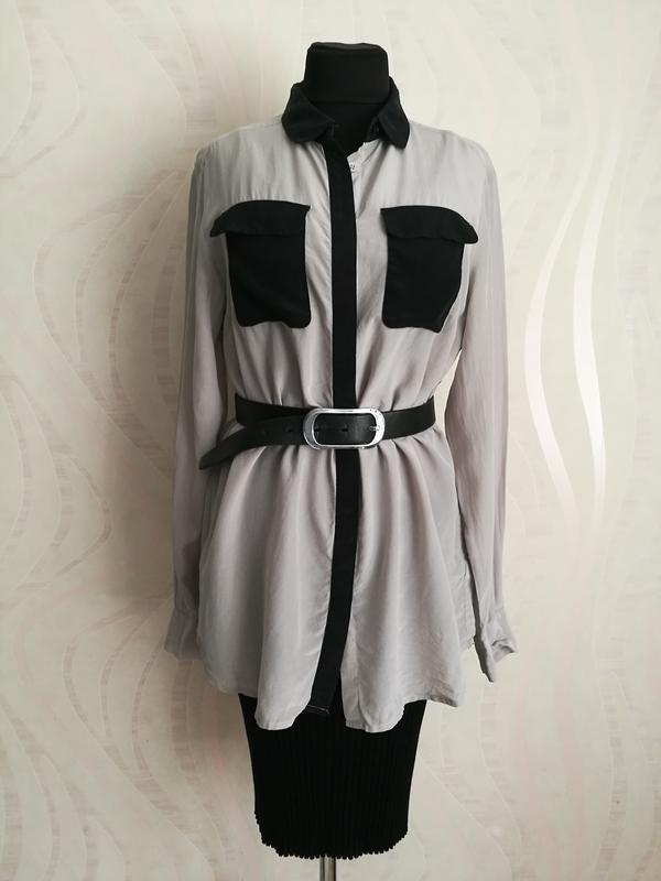 Шелковая блуза рубашка удлиненная