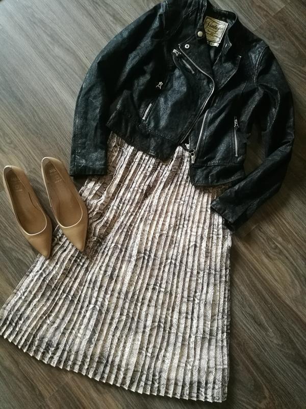 Стильная шифоновая юбка миди плиссе расцветка риптилия