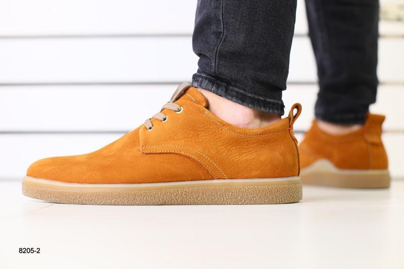 Мужские туфли рыжие на шнурках, нубук 💥 - Фото 3