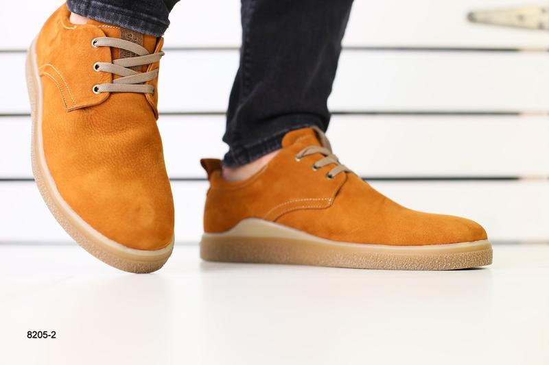 Мужские туфли рыжие на шнурках, нубук 💥 - Фото 8