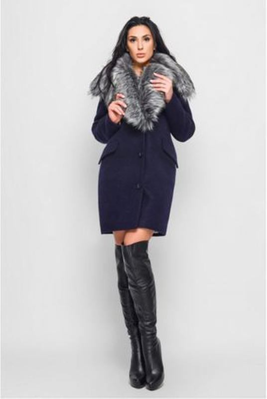 Зимнее пальто с меховым воротником. Размер 46. Цвет синий - Фото 3