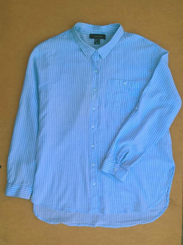 Хлопковая рубашка в полоску блузка из хлопка atmosphere - Фото 2