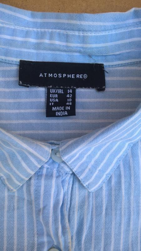 Хлопковая рубашка в полоску блузка из хлопка atmosphere - Фото 3