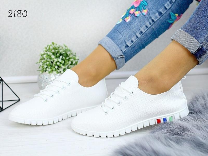 Акция! белые кеды мокасины кроссовки слипоны эко кожаные - Фото 2