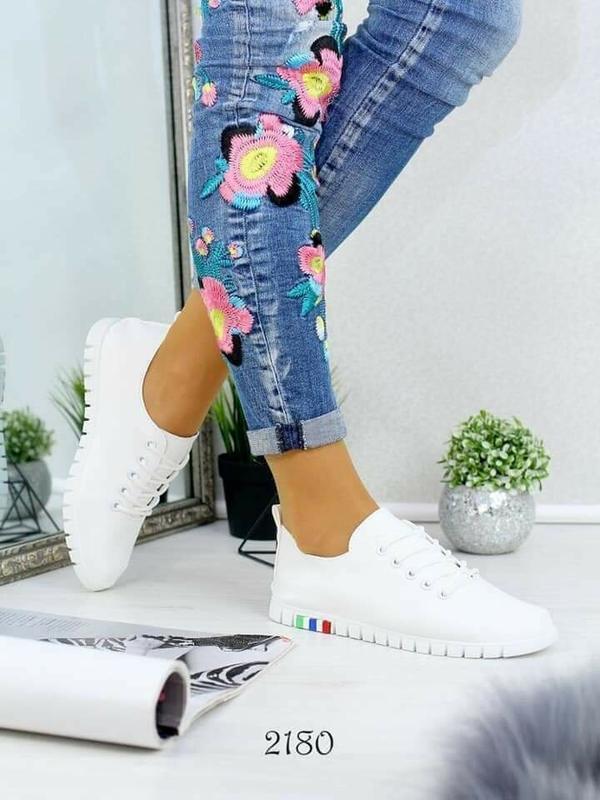 Акция! белые кеды мокасины кроссовки слипоны эко кожаные - Фото 3