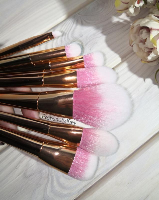 Кисти для макияжа gold/pink набор 7 шт probeauty - Фото 2