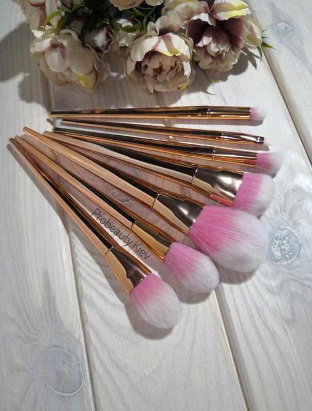 Кисти для макияжа gold/pink набор 7 шт probeauty - Фото 3