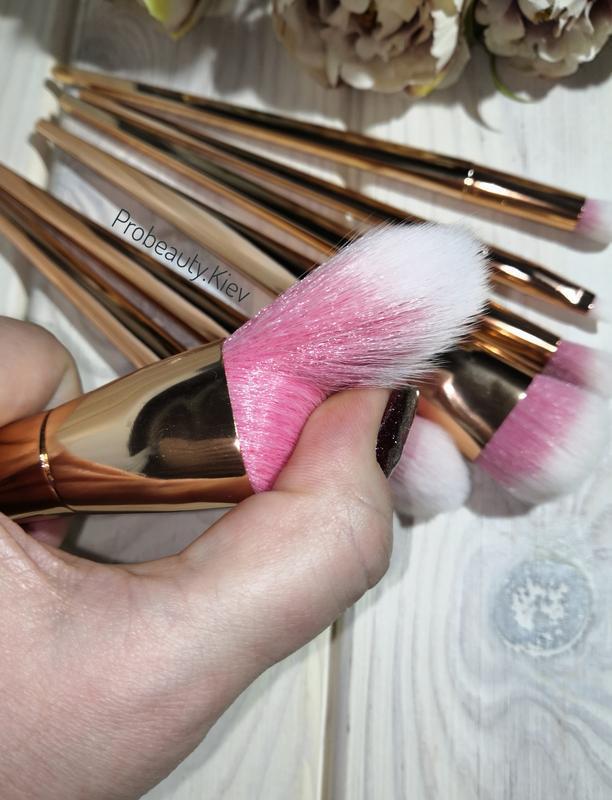 Кисти для макияжа gold/pink набор 7 шт probeauty - Фото 4