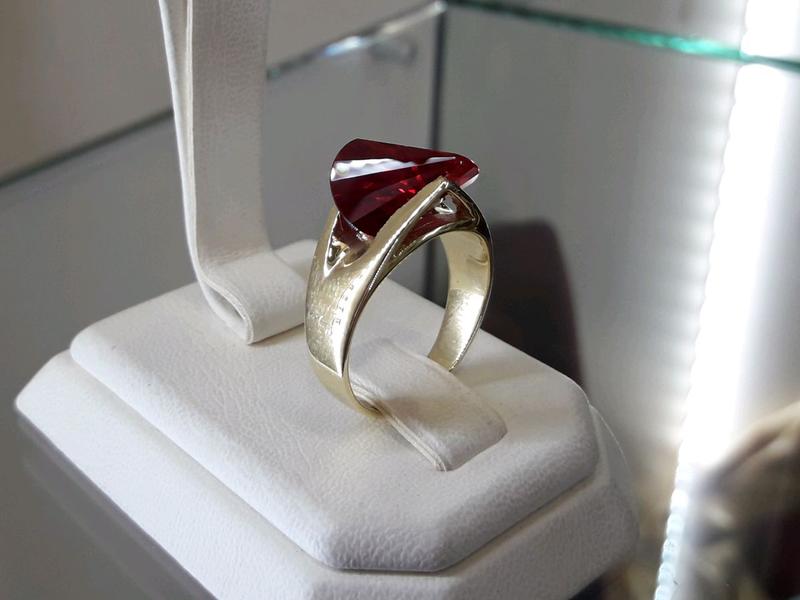 Золотой комплект набор с рубином серьги кольцо - Фото 8