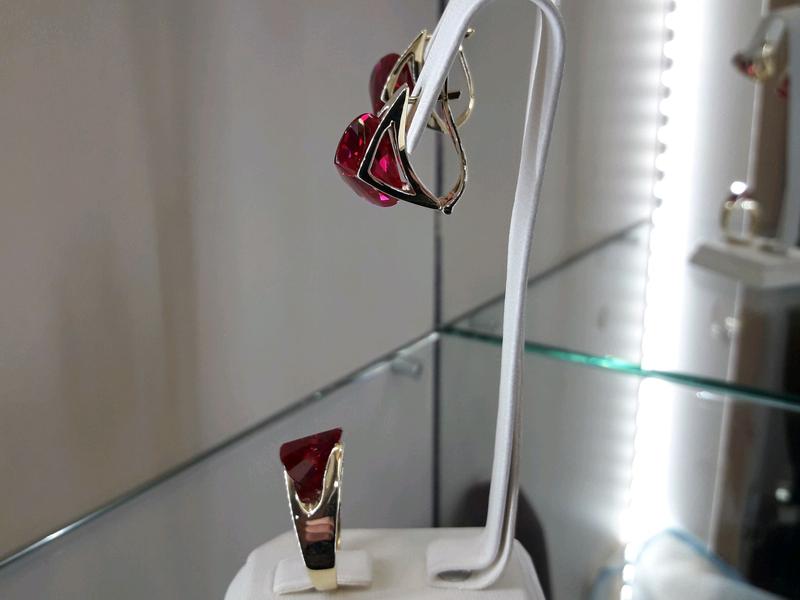 Золотой комплект набор с рубином серьги кольцо - Фото 11