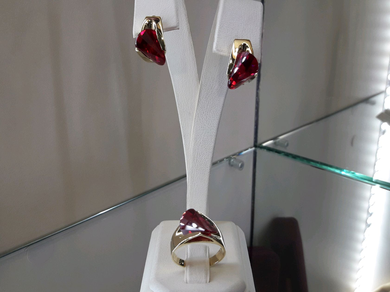 Золотой комплект набор с рубином серьги кольцо - Фото 10