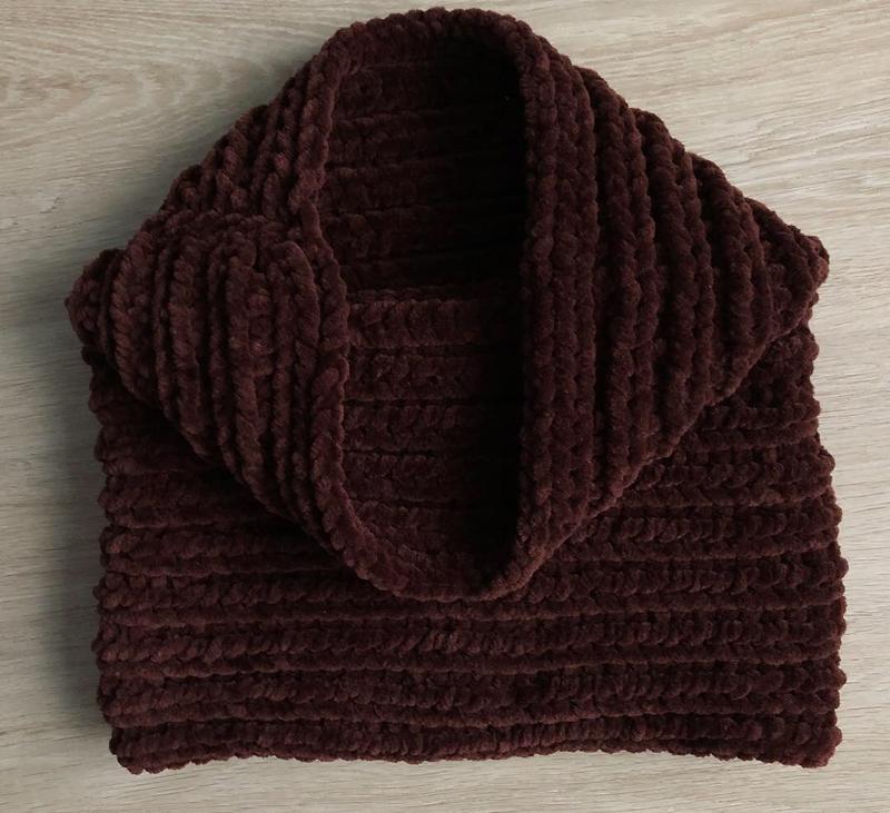 Снуд хомут шарф вязаный ручная работа коричневый велюр новый т...