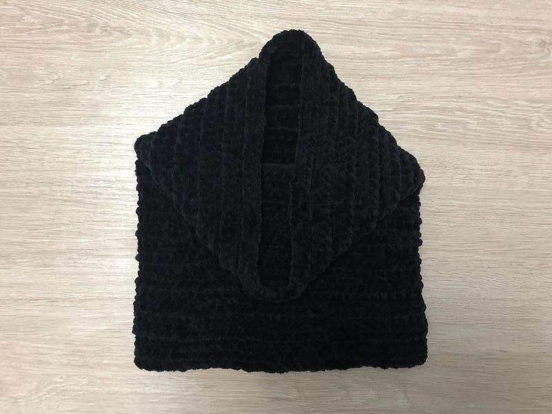 Снуд хомут шарф вязаный ручная работа черный велюр новый теплы...