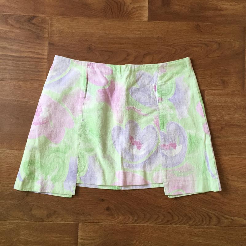 Льняная мини юбка из льна