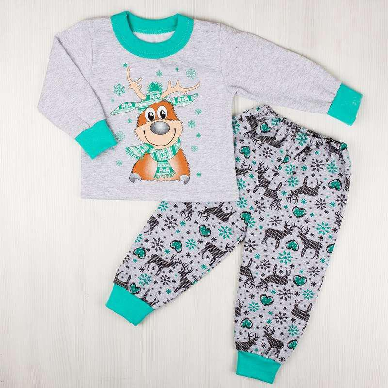 Пижама комбинированная начес с рисунком бирюзового цвета