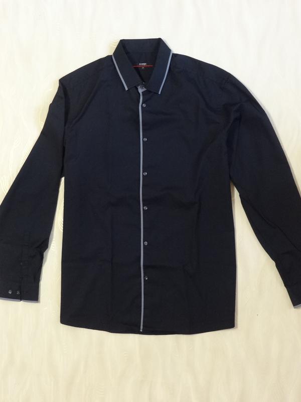Стильная черная рубашка с серым кантом george, р.52_